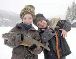 Ice fishing boys