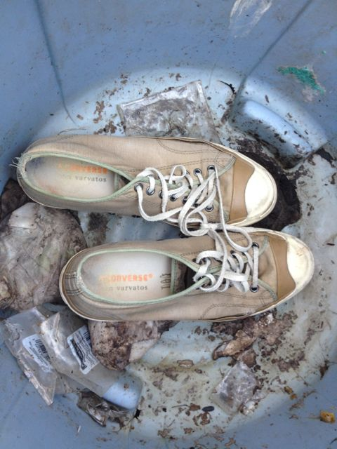 Shoes in trash